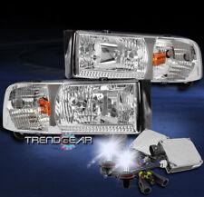 1994-2001 DODGE RAM 1500 2500 3500 CHROME CRYSTAL HEAD LIGHT LAMP W/8K XENON HID