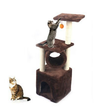"36"" Brown Cat Tree Play House Tower Condo Furniture Scratch Post Basket Hot Play