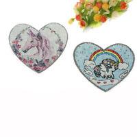 sequins heart unicorn patch color change reversible sew on applique diy clothes!