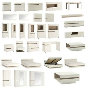 White High Gloss Glazed Display Cabinet Sideboard Buffet LED Living Room Set