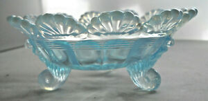 Vintage Mosser Small Aqua Opalescent 3 legged Berry/candy Bowl with fanned edge