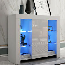 White Sideboard Cabinet Modern TV Unit Matt Body And High Gloss Doors+LED Lights