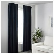 NEW Pair IKEA Sanela Velvet Curtains 2 Panels Room Darkening Midnight Blue 55x98