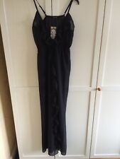 Boohoo Frill Split Maxi Beach Dress Black Size Small