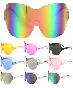 OSLO RIMLESS OVERSIZED SHIELD MONO LENS FUTURISTIC SUNGLASSES GOGGLES ONE PIECE