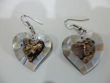 Abalone, Perlmutt Ohrringe Herzform, Naturschmuck, multicolor