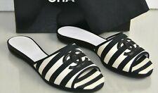 NEW Chanel Slides Mules Sandals Striped Cream Black CC Fabric Flats Shoes 41