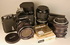 NIKON Nikkormat black body 35mm camera and 2 lenses, filters, ext tube set. NICE