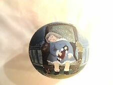 BEAUTIFUL HAND PAINTED ORNAMENT~ROUND PLASTIC BALL~GIRL AND HER DOLL ASLEEP