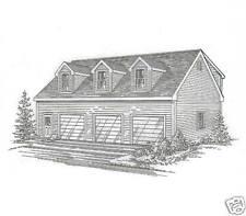 42 x 30 3 Car TD Garage / Dormered Loft Building Blueprint Plans