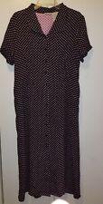 White Stag Brand Black princess seam dress with pink polka dots size XL NWT