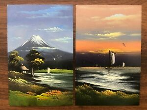 2 X JAPAN OLD POSTCARD COLLECTION LOT HAND PAINTED FUJI MOUNTAIN JUNK !!