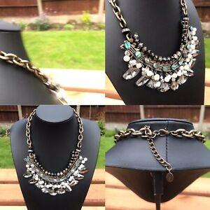 ZARA Old Gold Tone Black & Silver Bead Drop Bib Style Statement Necklace