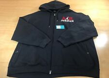 Air Jordan Embroidered Logo Full Zip Up Hooded Sweater Black White Size 3XL