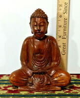 "1 Buddha - Hand Crafted, Hard Wood, 7"" Height - Made in Bali - Peace / Serenity"
