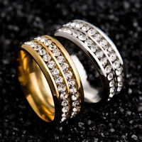 Sz8-10 Unisex Stainless Steel Ring Men/Women's Wedding Band Silver/Gold Jewelry