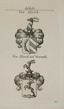 1847 BLASON NOBLESSE de Hirsch Hirsch de Gereuth sur cuivre de TYROFF