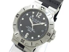 Auth BVLGARI Diagono Scuba SD38S Black Silver Men's Wrist Watch L30809