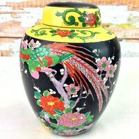 "Vintage Japanese Imari Ginger Jar Hand Painted Porcelain 7.5"" Nippon Pagoda Mark"