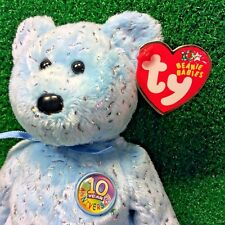 Ty Beanie Baby Decade The Light Blue Version 10 Year Bear - MWMT - FREE Shipping