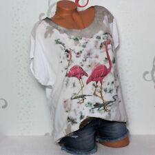Italy Damen T-Shirt Bluse Oberteil Vogel Strass Batik Gr. 38 40 42