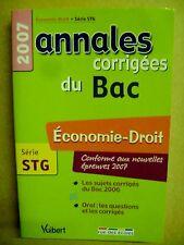 Annales corrigées du BAC Economie Droit Série STG /I25