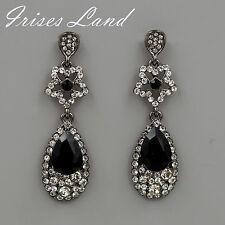 New Alloy Black Crystal Rhinestone Chandelier Drop Dangle Earrings 06293