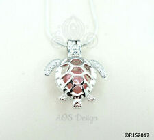 Sea Turtle Pearl Cage Necklace Baby Sea Tortoise Silver Plated Locket Charm Bead