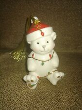 Lenox Teddy Bear Wrapped in Christmas Lights Ornament