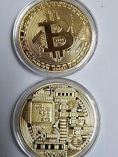1 x Gold Clad Bitcoin Coin Collectible Gift BTC Coin Art Collection Physical