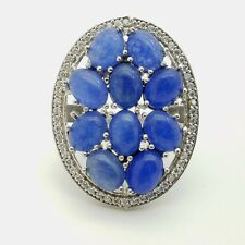 925 Sterling Silver Large 35'mm Oval Lapis Lazuli & White Gem Band Ring Size 7