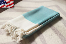 Soft Cotton Blue Turkish Peshtemal Bath Beach Pool Gym Yoga Spa Baby Towel