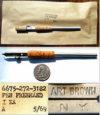 "VINTAGE 1969 NEW SEALED ""NOS"" ART BROWN NY #7 CALLIGRAPHY FREEHAND FOUNTAIN PEN"