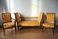 1840 French Paris Victorian Jeanselme Three Piece Suite (Sofa + 2 Armchairs)