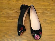 KATE SPADE NY WILTON SUEDE/LEATHER FLORAL EMBROIDERED FLAT SHOES NEW SIZE 7