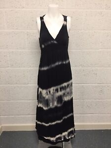 Second Female Anthropologie Tie Dye Maxi Dress - Summer Party Black White - M