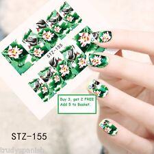 Nail Art Water Decals Wraps Green Oriental Japanese Flowers Floral Gel Polish