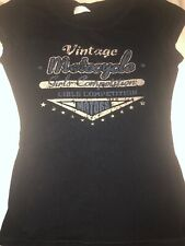 Vintage Motocycle Girls Competition: Women Small Black, Short Sleeve Graphic