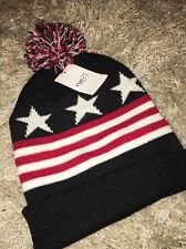 Rue 21 American Flag Men's Boys Hat Bill Bong Black Red Striped New With Tags