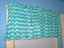 Lined Handmade Turquoise White Chevron Stripe Zigzag  Curtain Valance