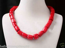 Genuine sweet red coral bead gemstone tibet silver necklace 18inch