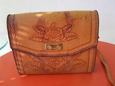Vintage Hand Tooled Thick Leather Handbag Shoulder bag with Alligator Lining