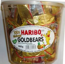 HARIBO GOLDBEARS FRUIT FLAVOUR GUMS 100 MINIBAG NO ARTIFICIAL COLOURS 980G