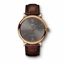 IWC IW356511 Portofino Automatic 18K Rose Gold MEN'S WATCH IW3565-11 Brown strap