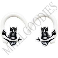 0681 Spiral Owl Taper Expander Stretcher Plugs Gauges Hoops 0G 8mm White Black
