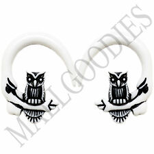 0681 Spiral Owl Taper Expander Stretcher Plugs Gauges Hoops 0G 8mm White Black