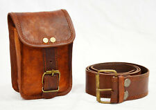 Real vintage leather hunters choice waist pouch with belt goat hide classic Bag