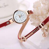 Women's Lady Girl Bracelet Rhinestone Metal Quartz Faux Leather Wrist Watch hot