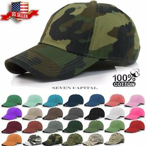 Plain Solid Military Washed Cotton Polo Style Baseball Cap Caps Hat Adjustable