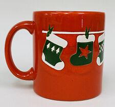 VTG Waechtersbach Red Green White Stockings Christmas Coffee Mug W. Germany RARE